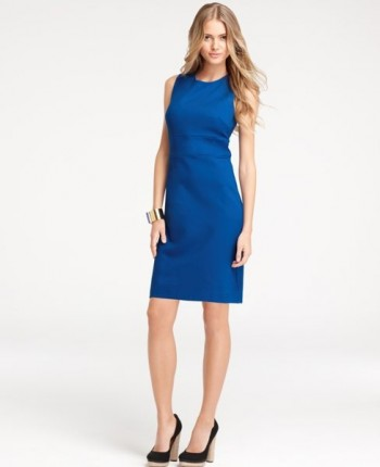 knit-sheath-dress-ann-taylor, spring-dress, blue-spring-dress