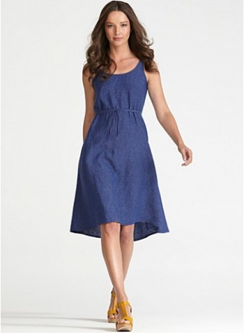 U-neck-A-line-dress-Eileen-Fisher, spring-dress, blue-spring-dress